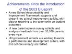achievements since the introduction of the 2003 blueprint2