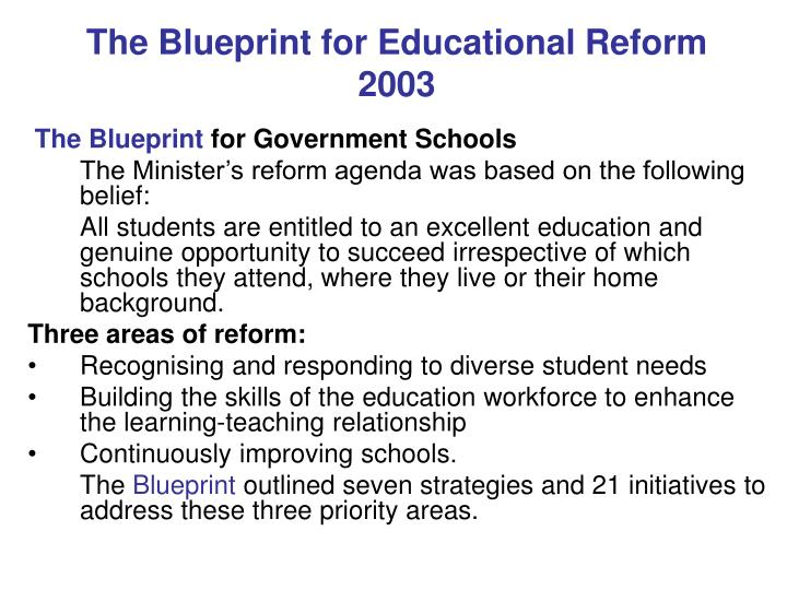 Ppt educationcaboutdirectionsblueprint2008thepaperm the blueprint for educational reform2003 malvernweather Image collections