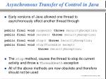 asynchronous transfer of control in java