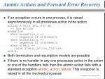 atomic actions and forward error recovery