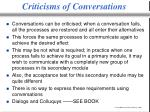 criticisms of conversations