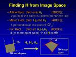 finding h from image space