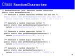 class randomcharacter