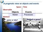 a pragmatic view on objects and events