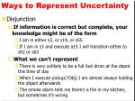 ways to represent uncertainty