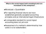 what is the social impact both monetized and non monetized of this enterprise