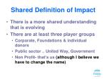 shared definition of impact