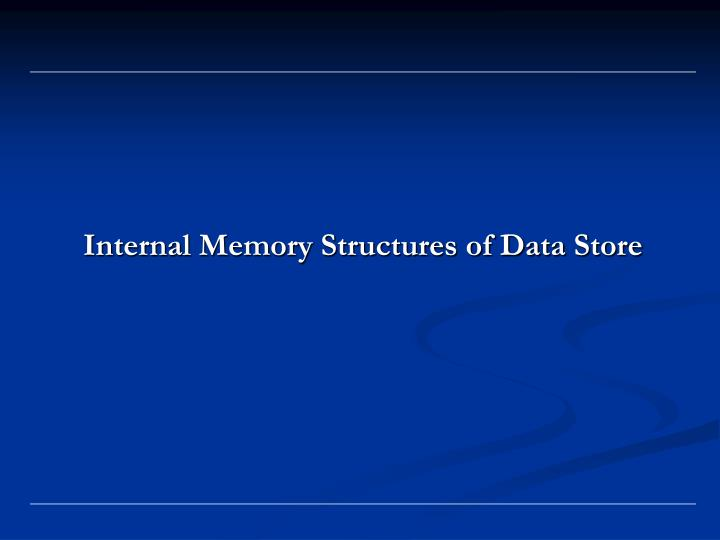 Internal Memory Structures of Data Store
