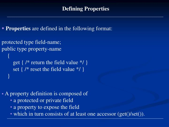 Defining Properties