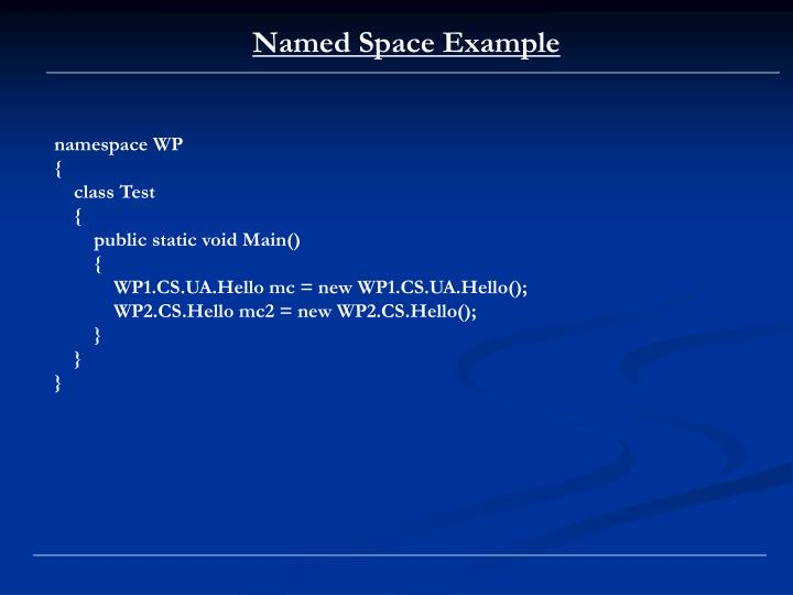 Named Space Example