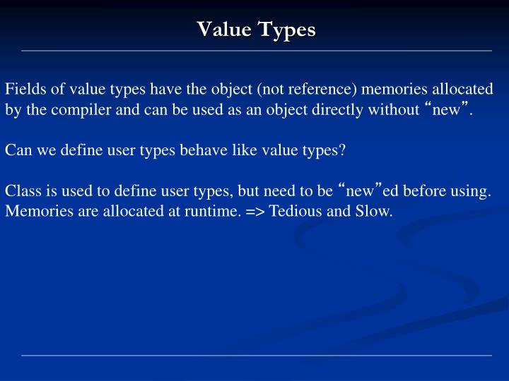 Fields of value types have the object (not reference) memories allocated by the compiler and can be used as an object directly without