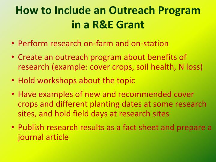 How to Include an Outreach Program in a R&E Grant