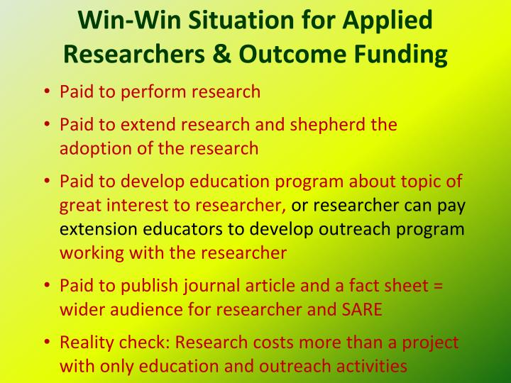 Win-Win Situation for Applied Researchers & Outcome Funding