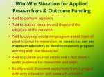 win win situation for applied researchers outcome funding