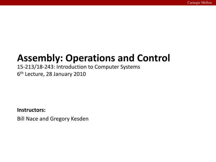 assembly operations and control n.