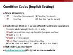 condition codes implicit setting