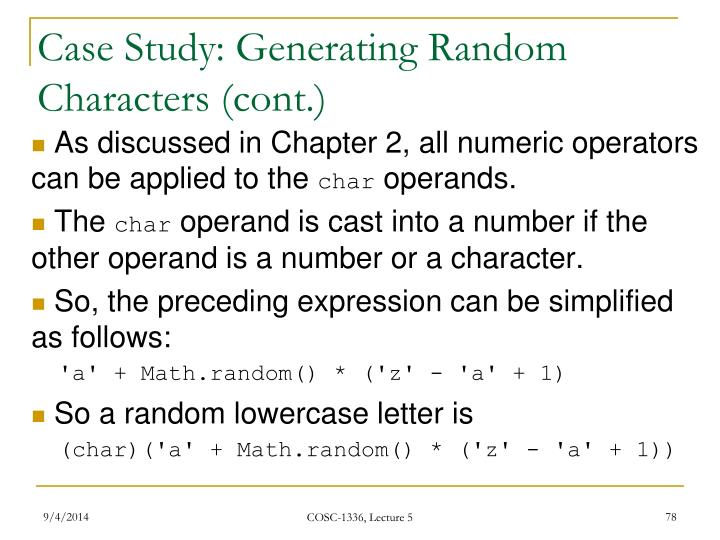 Case Study: Generating Random Characters