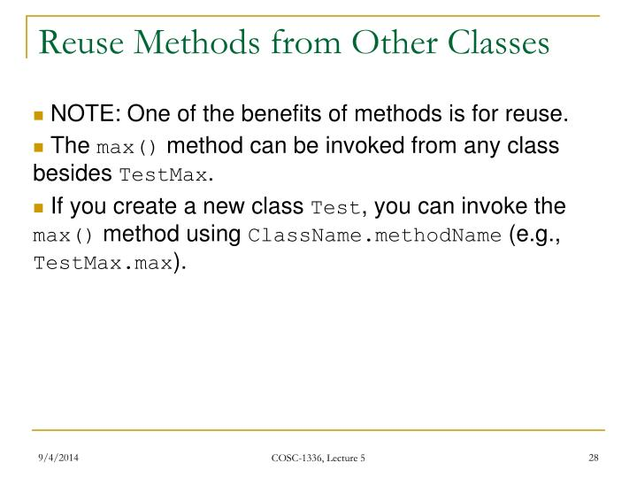 Reuse Methods from Other Classes