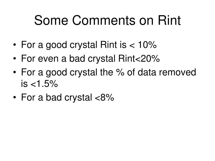 some comments on rint n.