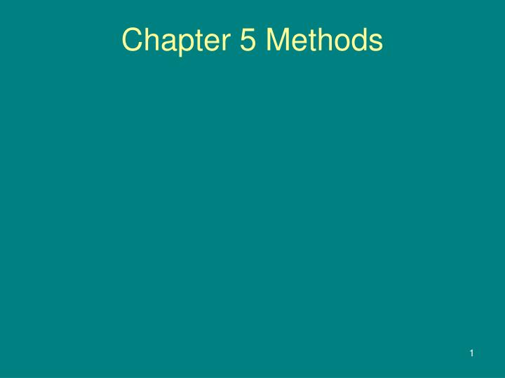 chapter 5 methods n.