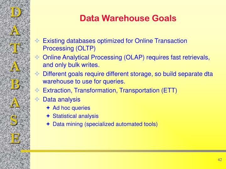 Existing databases optimized for Online Transaction Processing (OLTP)