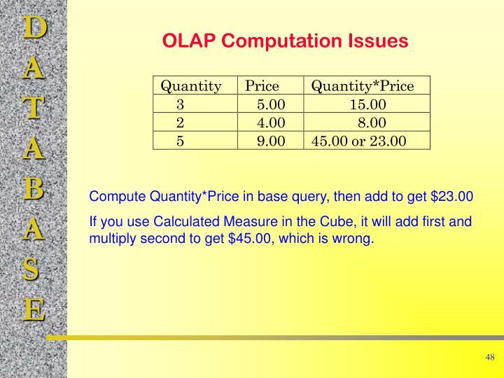 OLAP Computation Issues