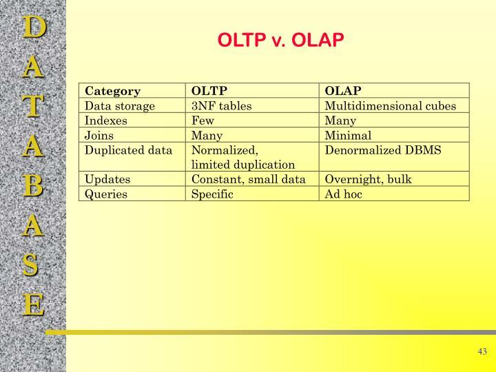 OLTP v. OLAP