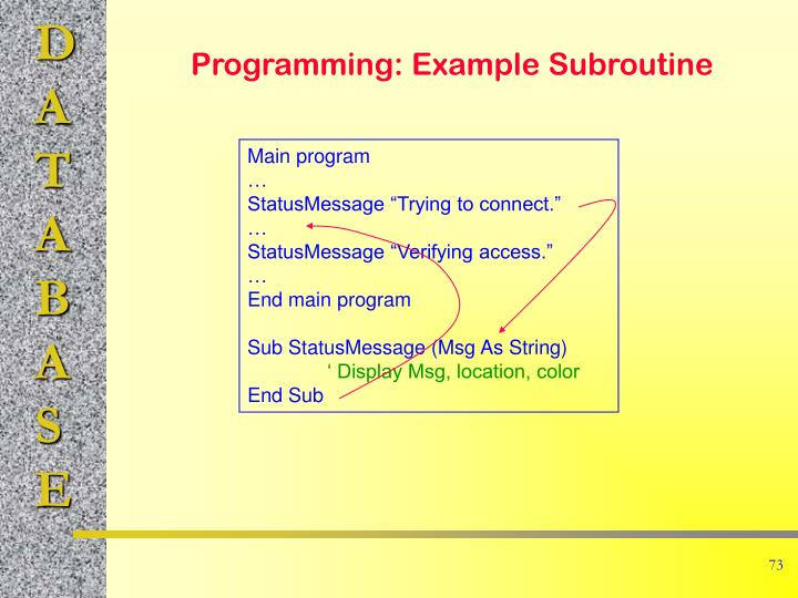 Programming: Example Subroutine