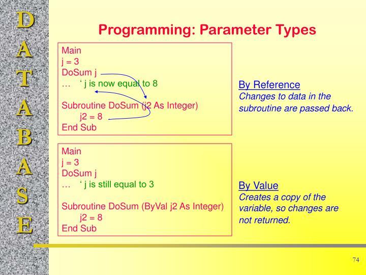 Programming: Parameter Types