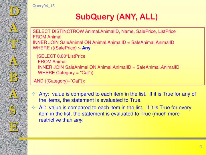 Any:  value is compared to each item in the list.  If it is True for any of the items, the statement is evaluated to True.
