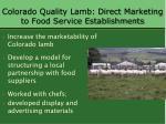 colorado quality lamb direct marketing to food service establishments