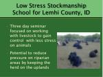low stress stockmanship school for lemhi county id