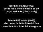 teoria di planck 1900 per la radiazione emessa da un corpo radiante black body