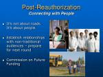 post reauthorization connecting with people