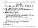 agenda thursday july 20 th 2012 08 00 10 00