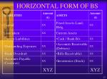 horizontal form of bs