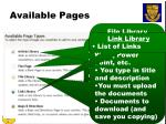 available pages