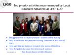top priority activities recommended by local educator networks at lho llo