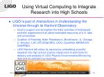 using virtual computing to integrate research into high schools