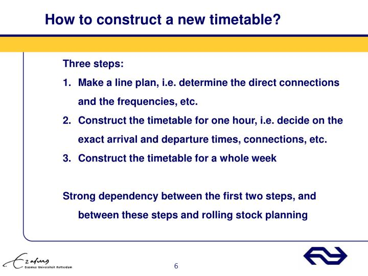 How to construct a new timetable?