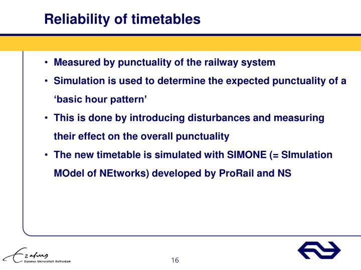 Reliability of timetables
