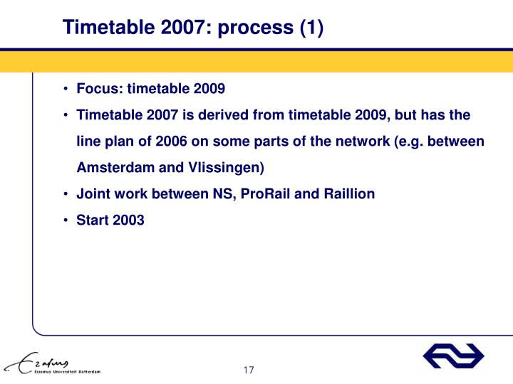 Timetable 2007: process (1)