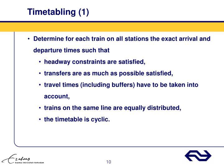 Timetabling (1)