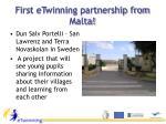 first etwinning partnership from malta