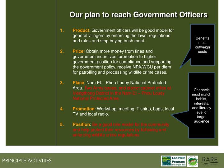 Our plan to reach Government Officers