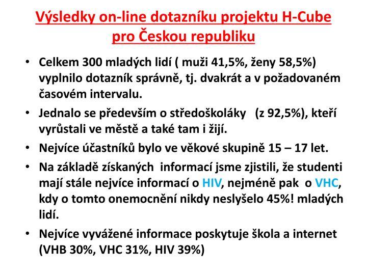 Výsledky on-line dotazníku projektu H-Cube pro Českou republiku