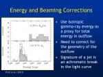 energy and beaming corrections