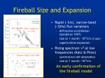 fireball size and expansion