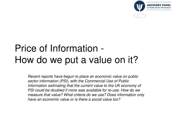 price of information how do we put a value on it n.