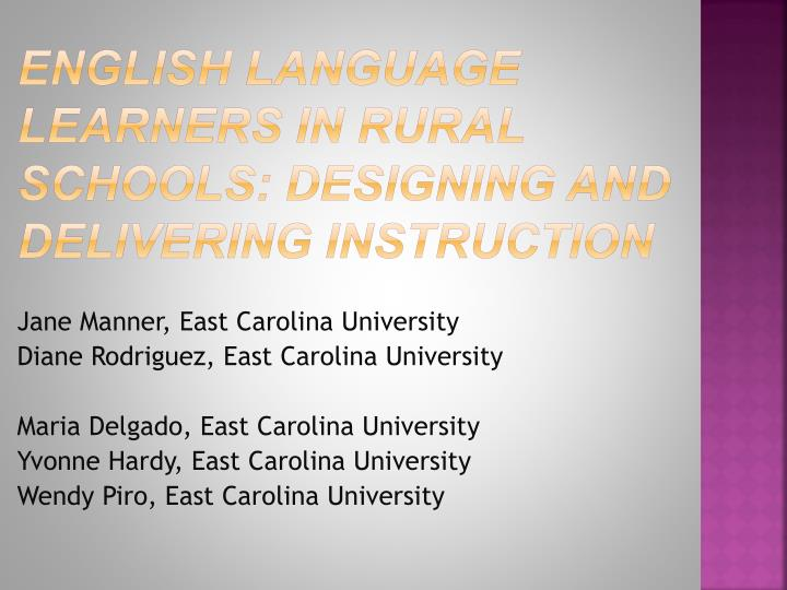 english language learners in rural schools designing and delivering instruction n.
